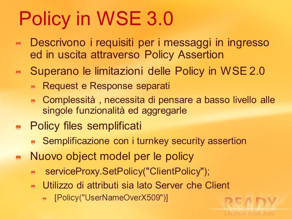 3/27/2017 2:27 AM Policy in WSE 3.0. Descrivono i requisiti per i messaggi in ingresso ed in uscita attraverso Policy Assertion.