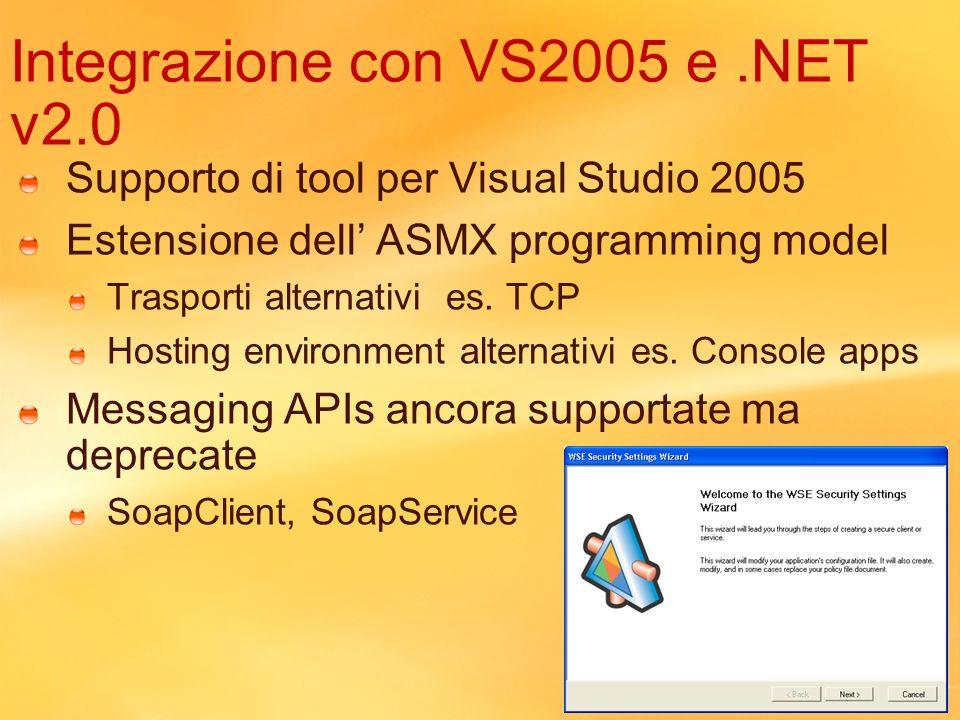 Integrazione con VS2005 e .NET v2.0