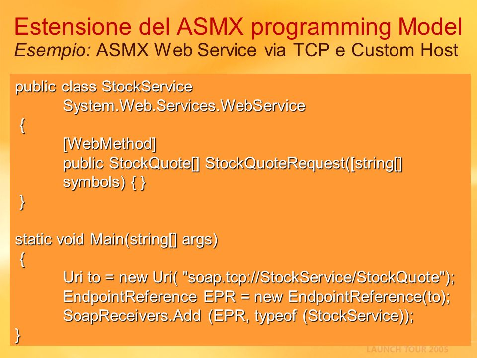 3/27/2017 2:27 AM Estensione del ASMX programming Model Esempio: ASMX Web Service via TCP e Custom Host.