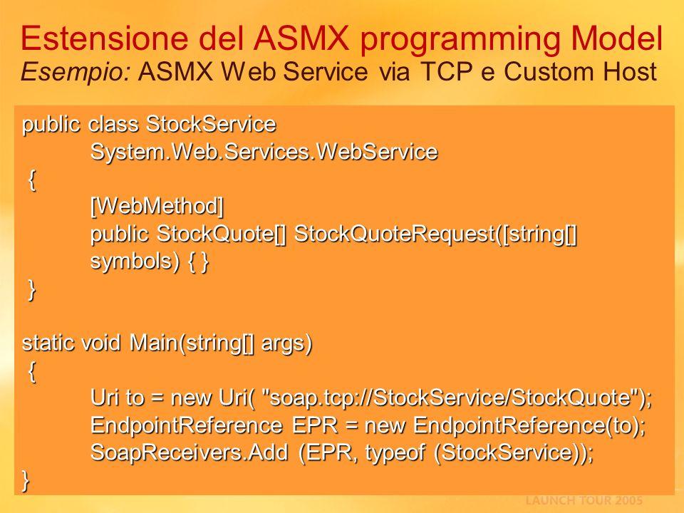3/27/2017 2:27 AMEstensione del ASMX programming Model Esempio: ASMX Web Service via TCP e Custom Host.