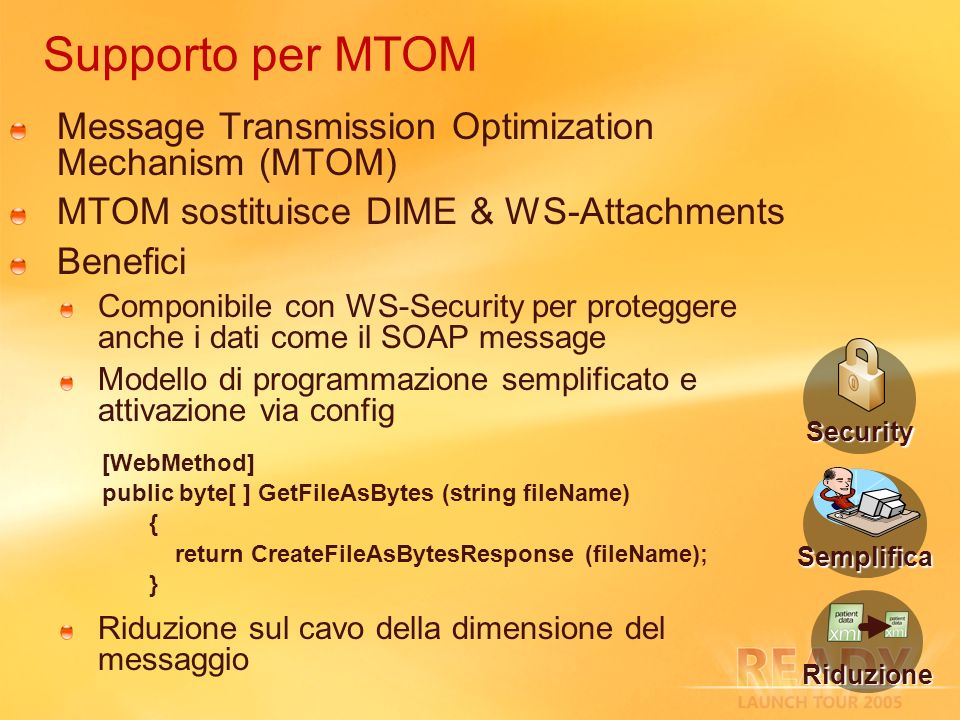 Supporto per MTOM Message Transmission Optimization Mechanism (MTOM)