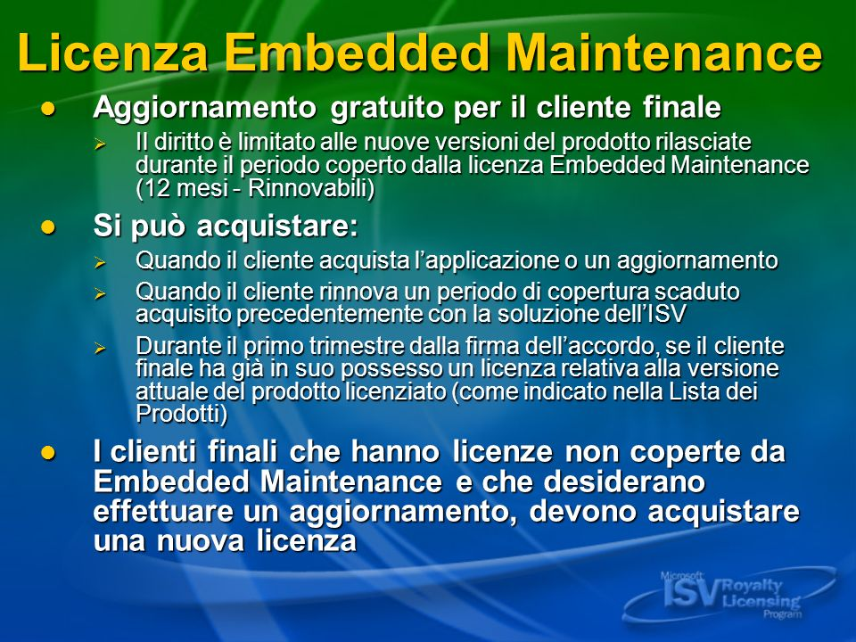 Licenza Embedded Maintenance
