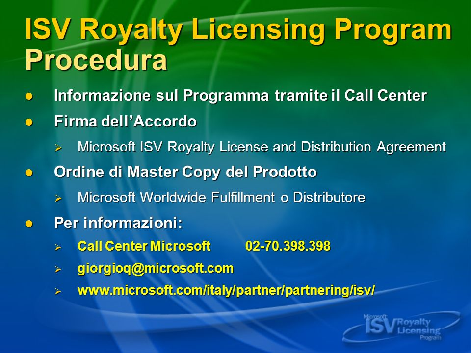 ISV Royalty Licensing Program Procedura
