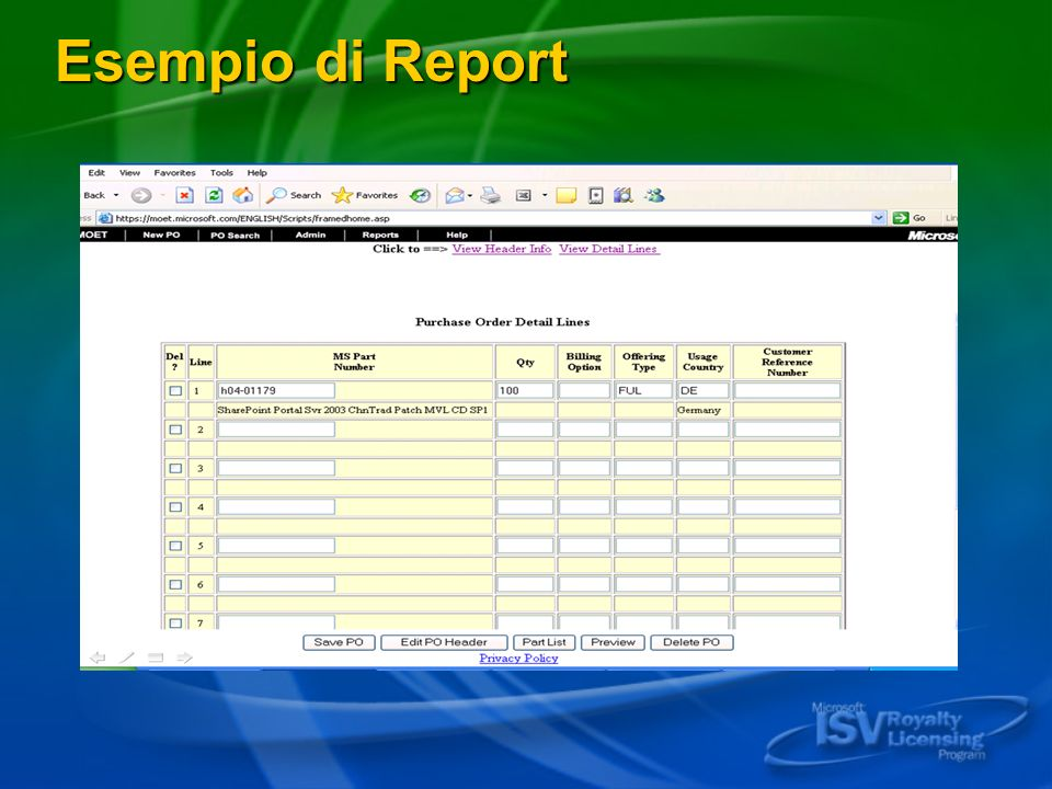 Esempio di Report Microsoft ISV Royalty Licensing Program - Microsoft Confidential Information
