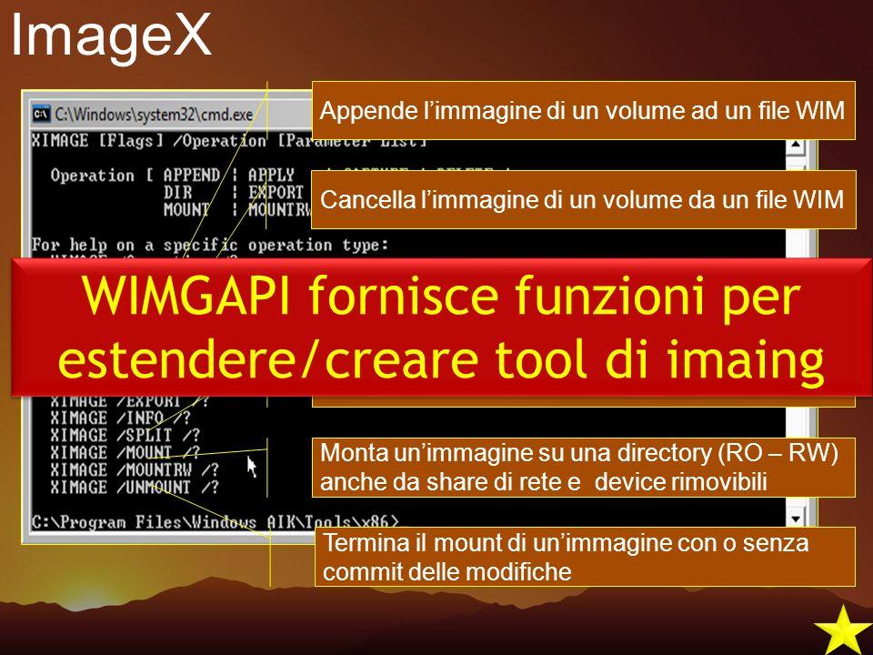 WIMGAPI fornisce funzioni per estendere/creare tool di imaing