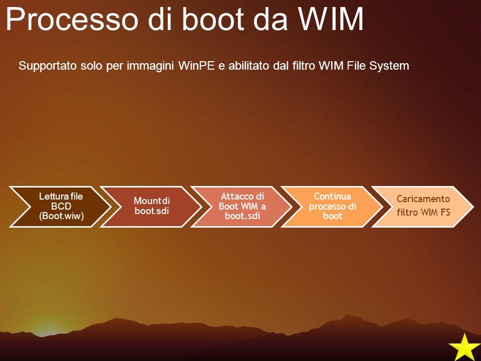 Processo di boot da WIM Supportato solo per immagini WinPE e abilitato dal filtro WIM File System. Lettura file BCD (Boot.wiw)