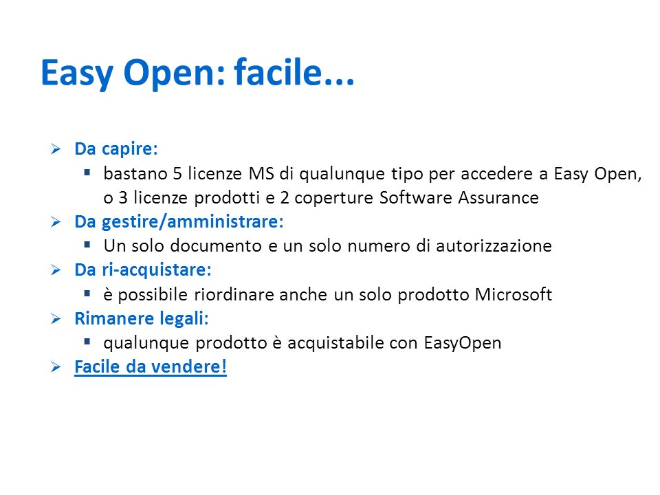 Easy Open: facile... Da capire: