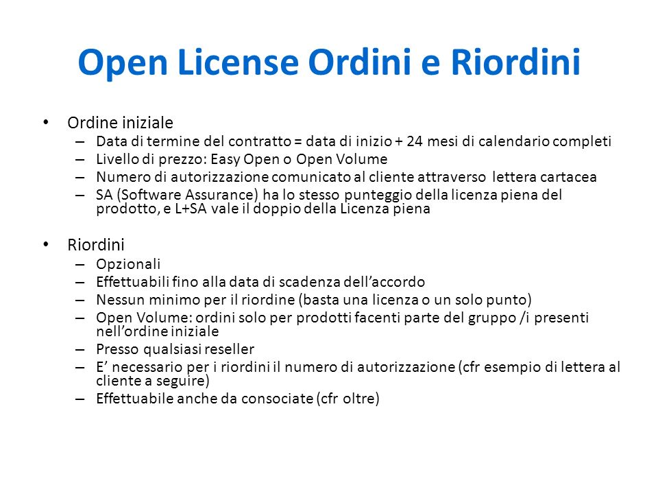 Open License Ordini e Riordini