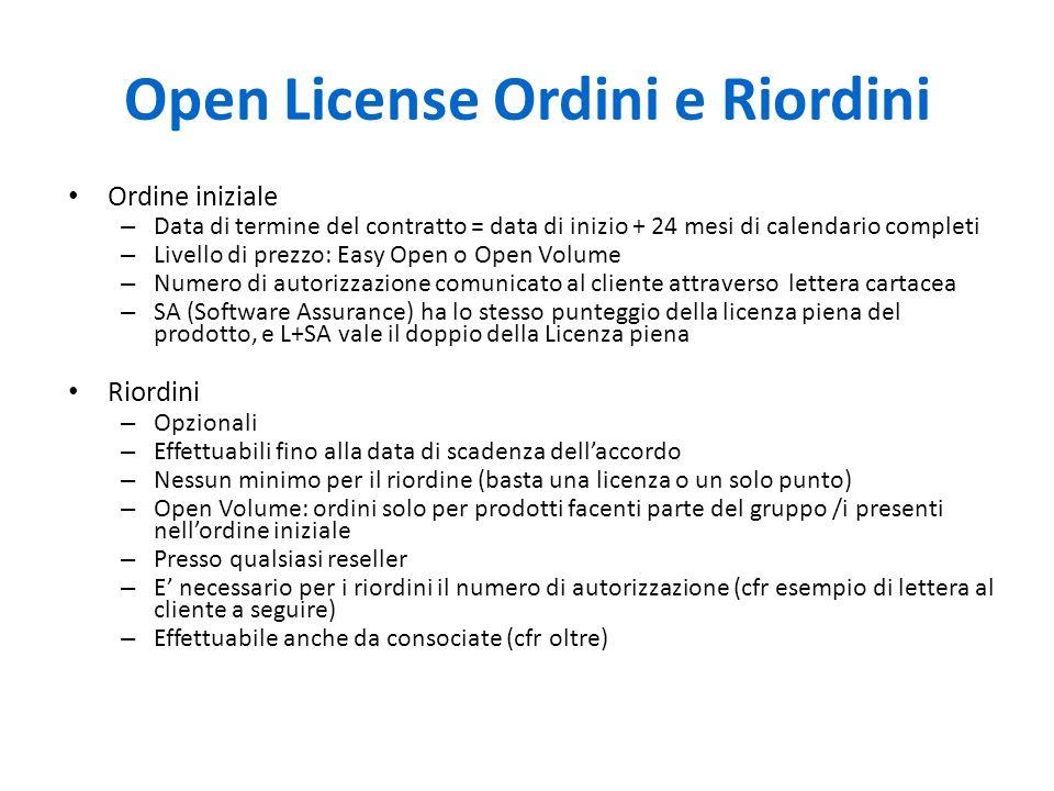 Open License Ordini e Riordini