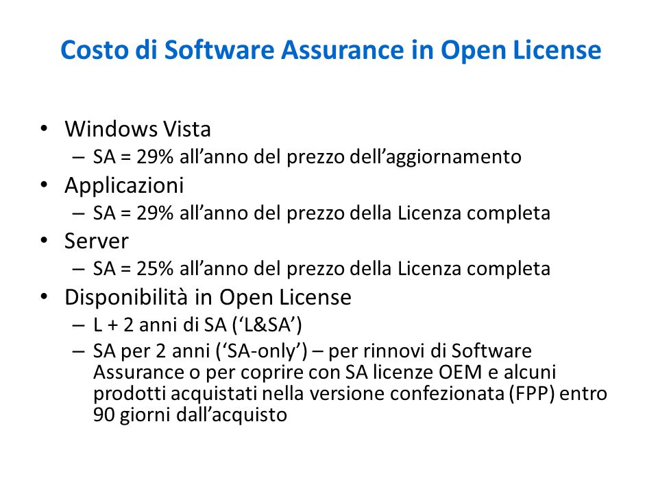 Costo di Software Assurance in Open License