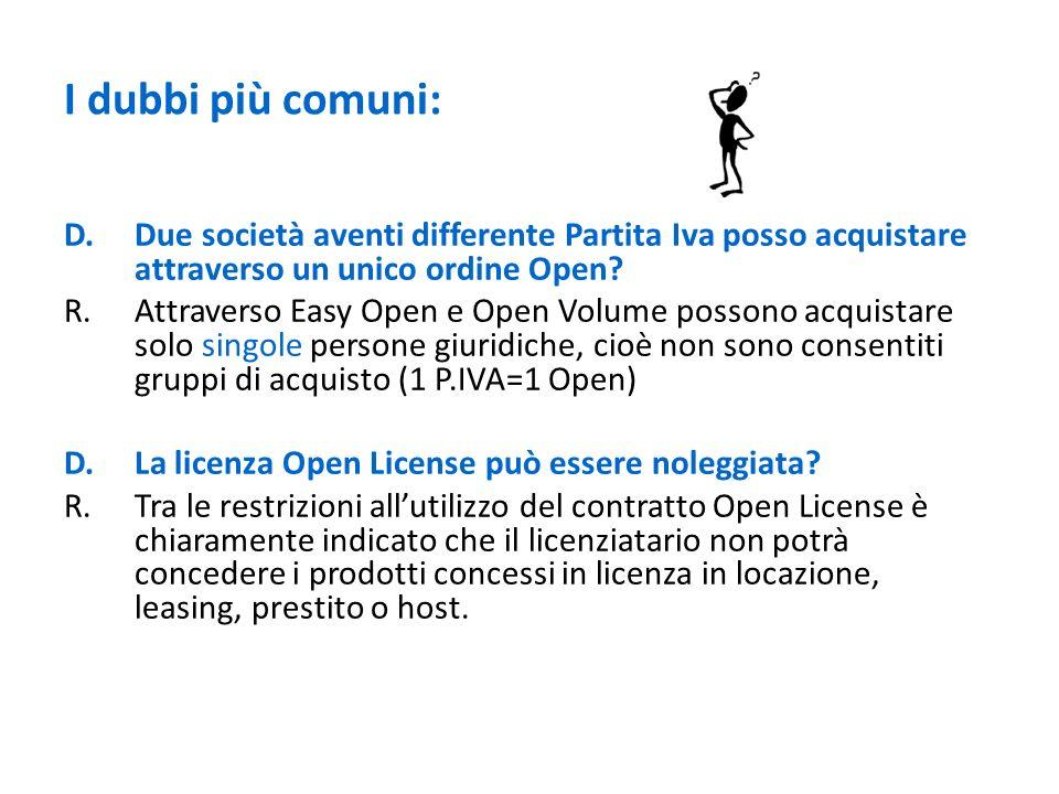 I dubbi più comuni: D. Due società aventi differente Partita Iva posso acquistare attraverso un unico ordine Open