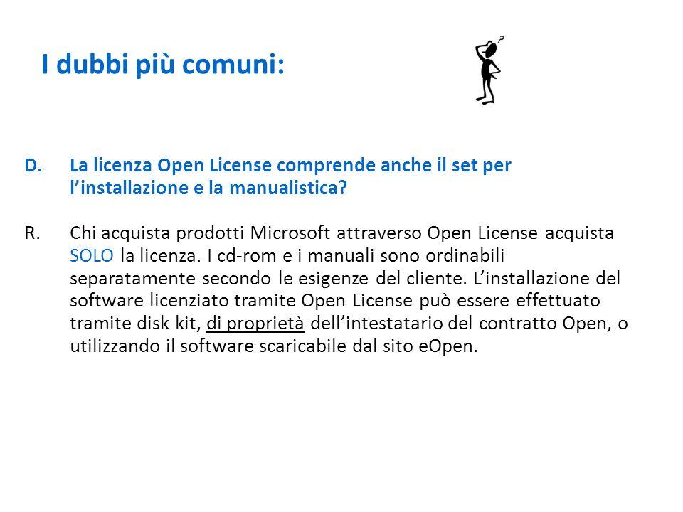 I dubbi più comuni: La licenza Open License comprende anche il set per l'installazione e la manualistica