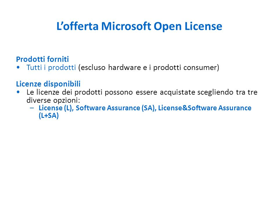 L'offerta Microsoft Open License