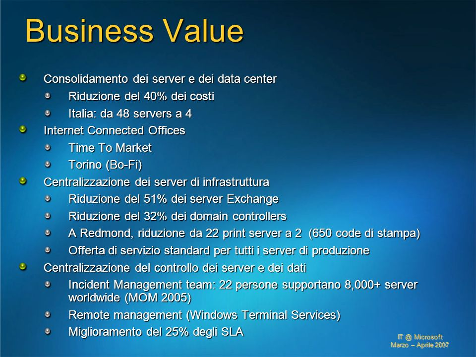 Business Value Consolidamento dei server e dei data center