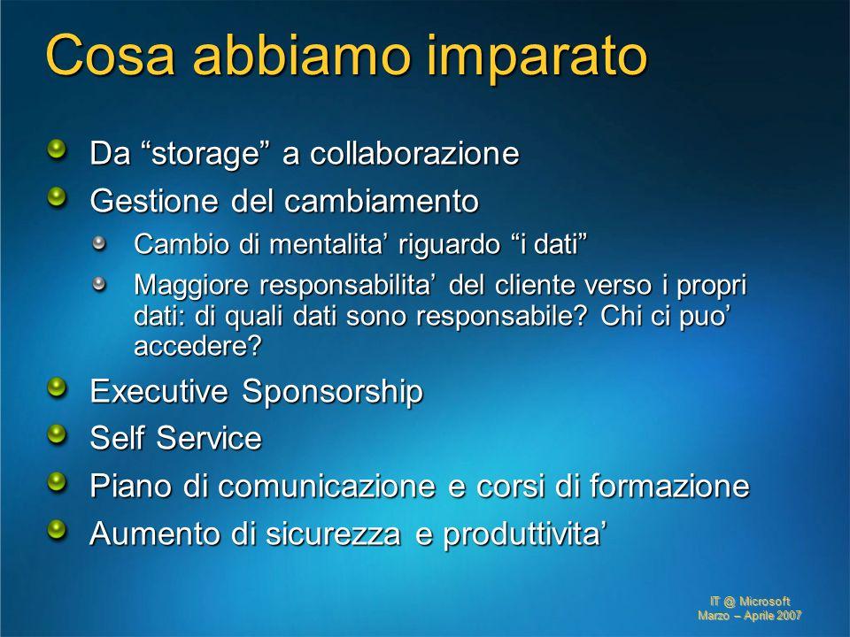 Cosa abbiamo imparato Da storage a collaborazione