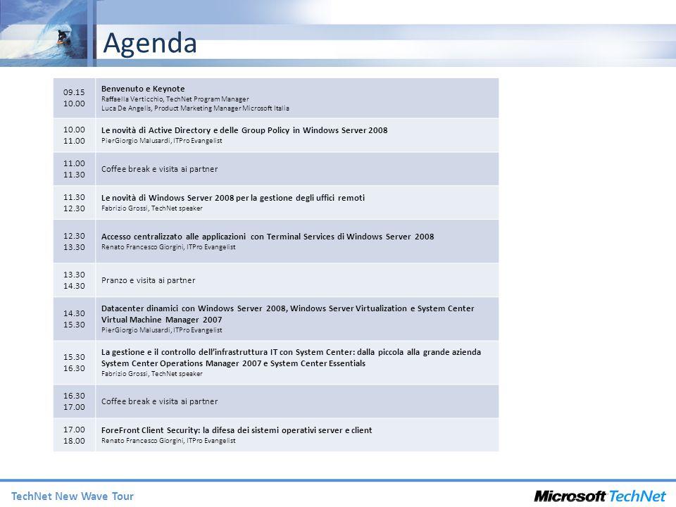 Agenda Benvenuto e Keynote 09.15 10.00
