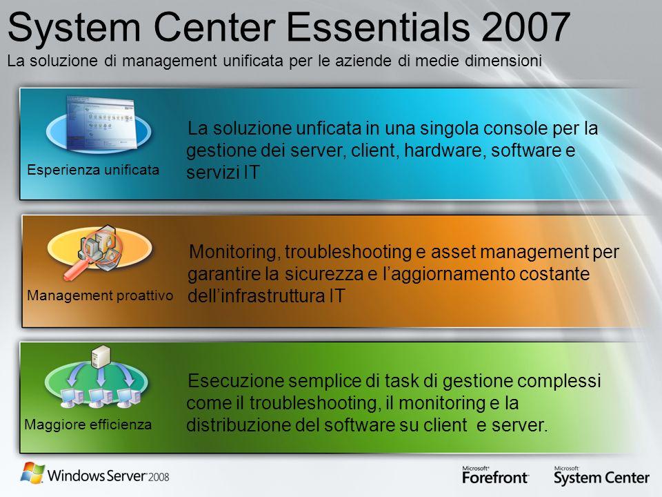 System Center Essentials 2007 La soluzione di management unificata per le aziende di medie dimensioni