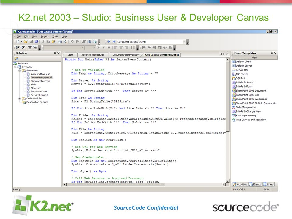 K2.net 2003 – Studio: Business User & Developer Canvas