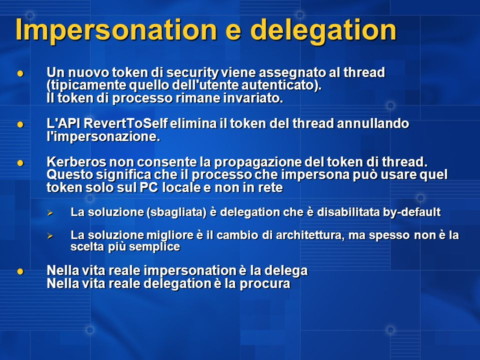 Impersonation e delegation