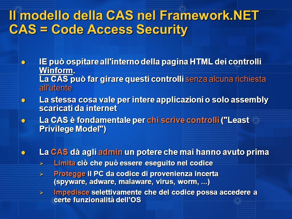 Il modello della CAS nel Framework.NET CAS = Code Access Security