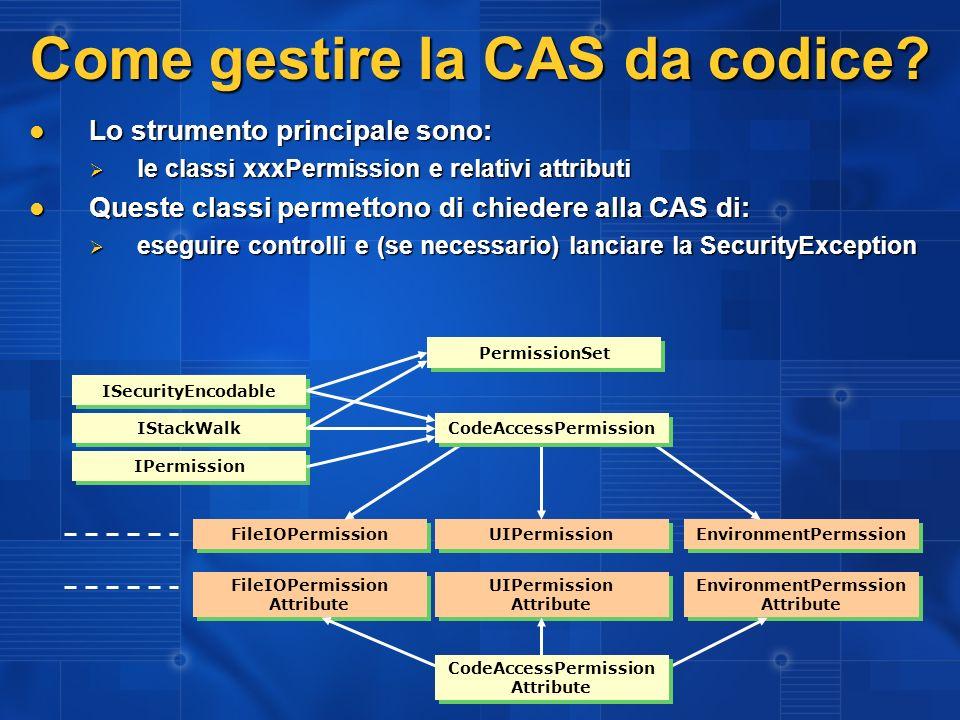 Come gestire la CAS da codice