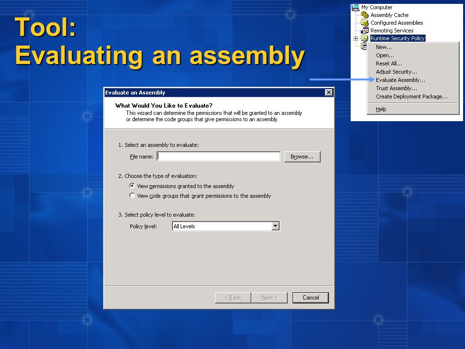Tool: Evaluating an assembly