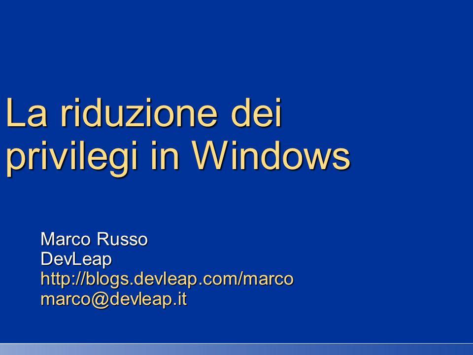 La riduzione dei privilegi in Windows