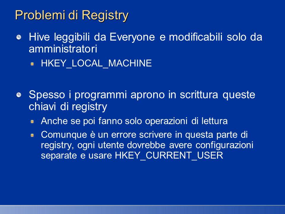 27/03/2017 2:27 AM Problemi di Registry. Hive leggibili da Everyone e modificabili solo da amministratori.
