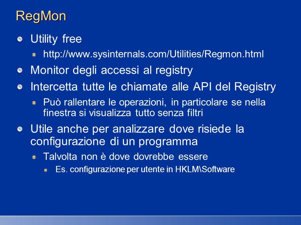 RegMon Utility free Monitor degli accessi al registry