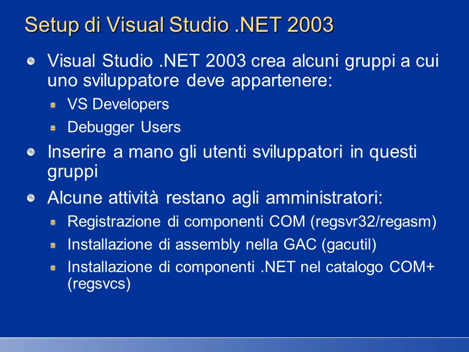 Setup di Visual Studio .NET 2003