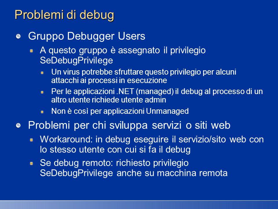 Problemi di debug Gruppo Debugger Users