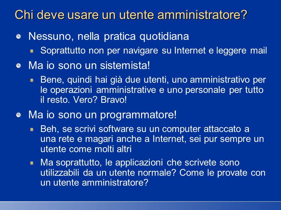 Chi deve usare un utente amministratore