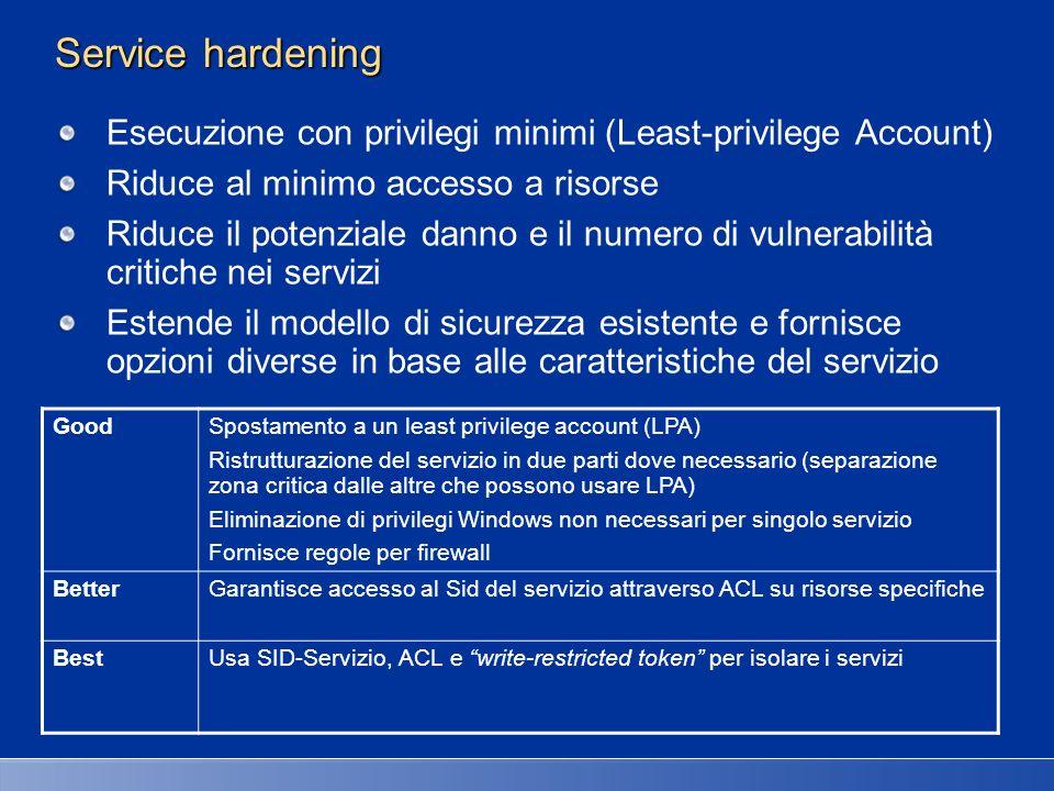 27/03/2017 2:27 AM Service hardening. Esecuzione con privilegi minimi (Least-privilege Account) Riduce al minimo accesso a risorse.