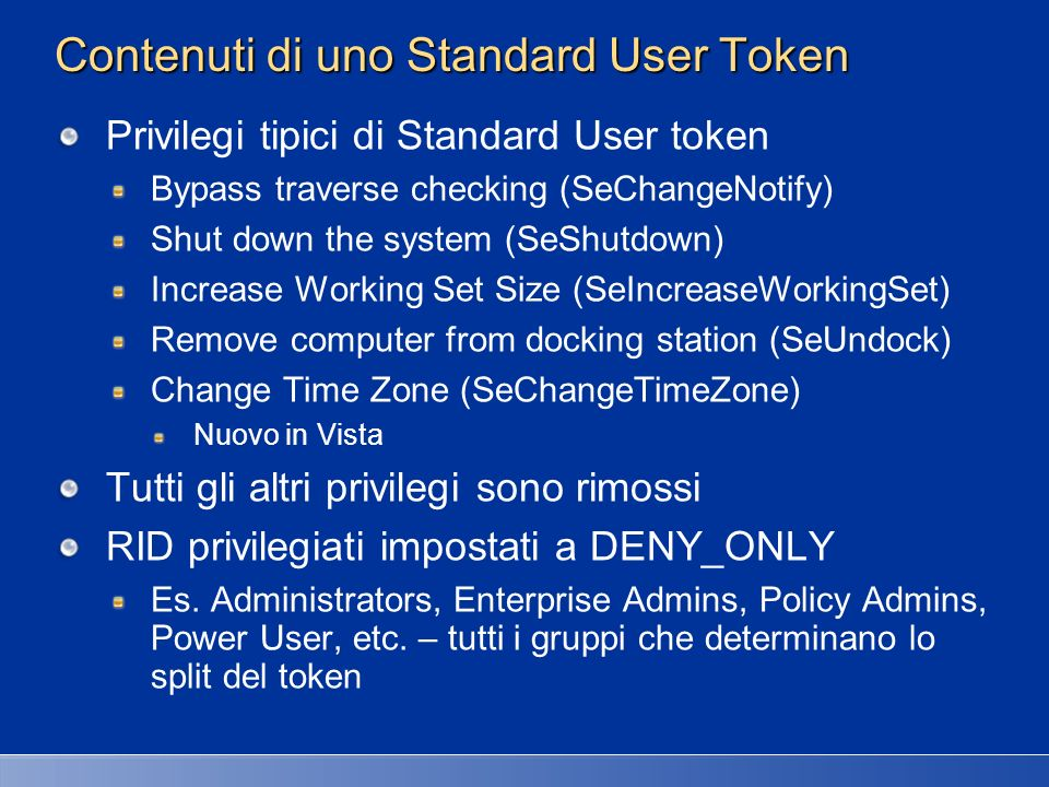 Contenuti di uno Standard User Token