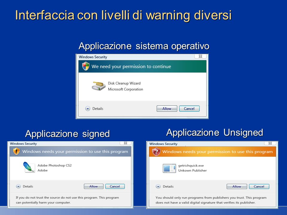 Interfaccia con livelli di warning diversi