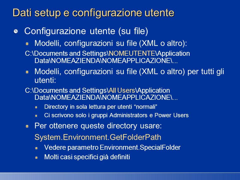 Dati setup e configurazione utente