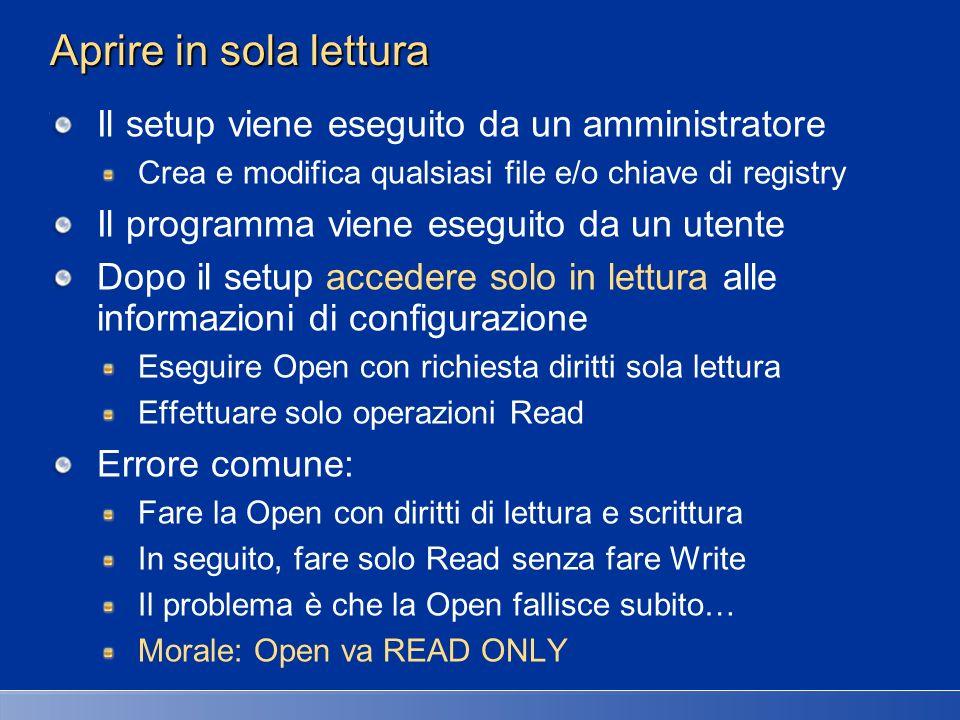 Aprire in sola lettura Il setup viene eseguito da un amministratore