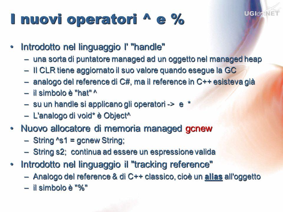 I nuovi operatori ^ e % Introdotto nel linguaggio l handle