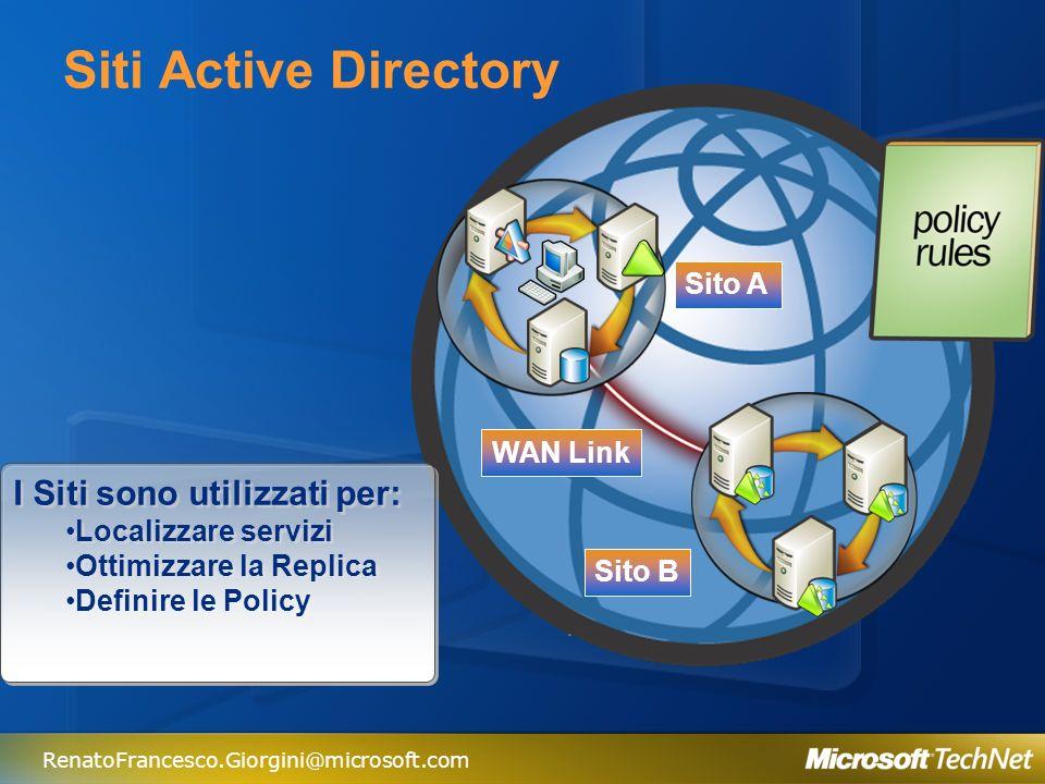 Siti Active Directory I Siti sono utilizzati per: Sito A WAN Link