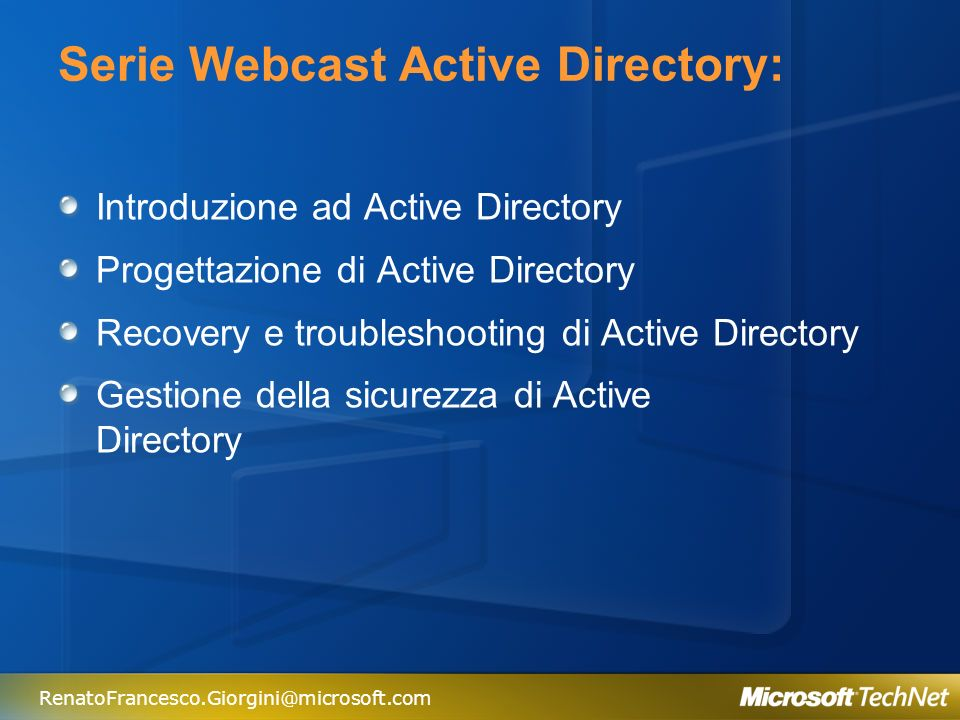 Serie Webcast Active Directory: