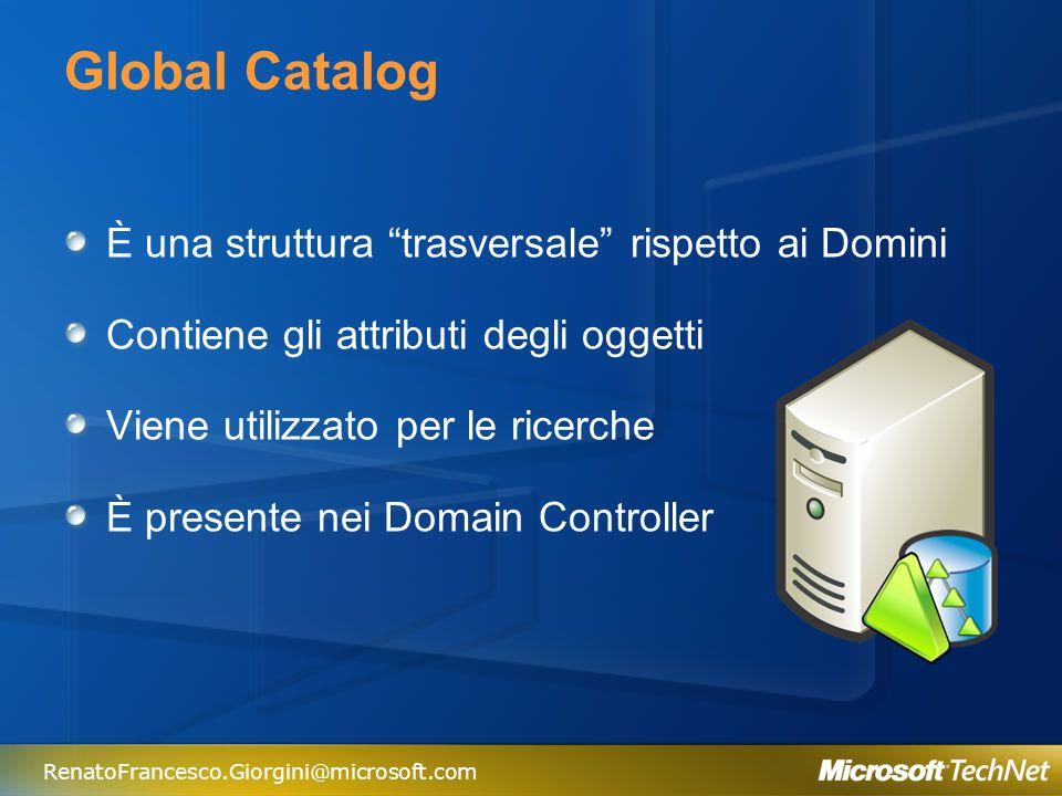 Global Catalog È una struttura trasversale rispetto ai Domini