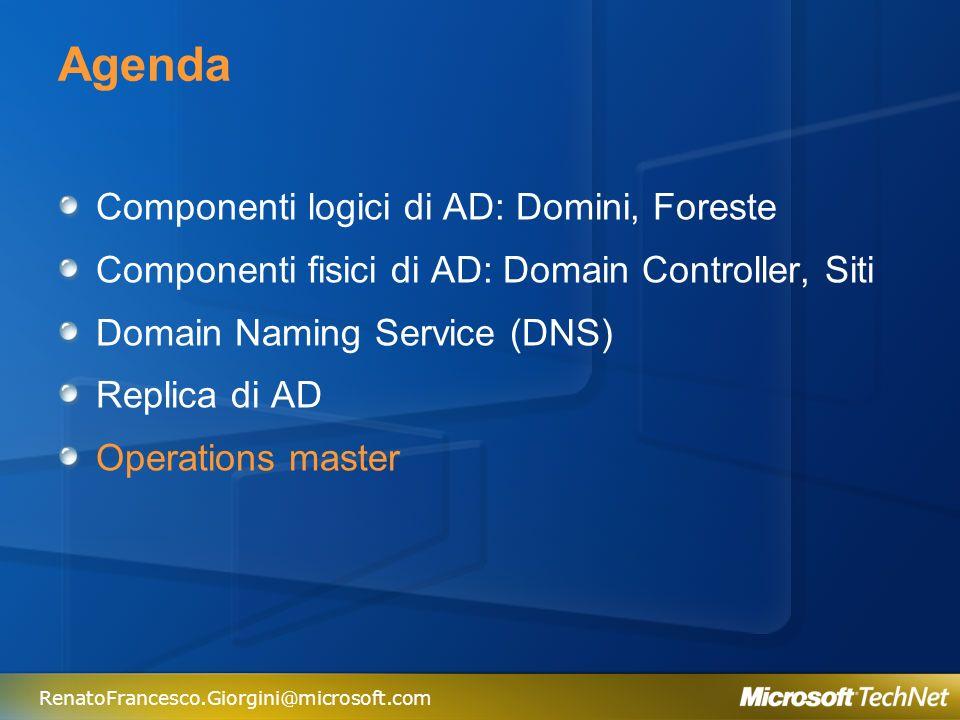 Agenda Componenti logici di AD: Domini, Foreste