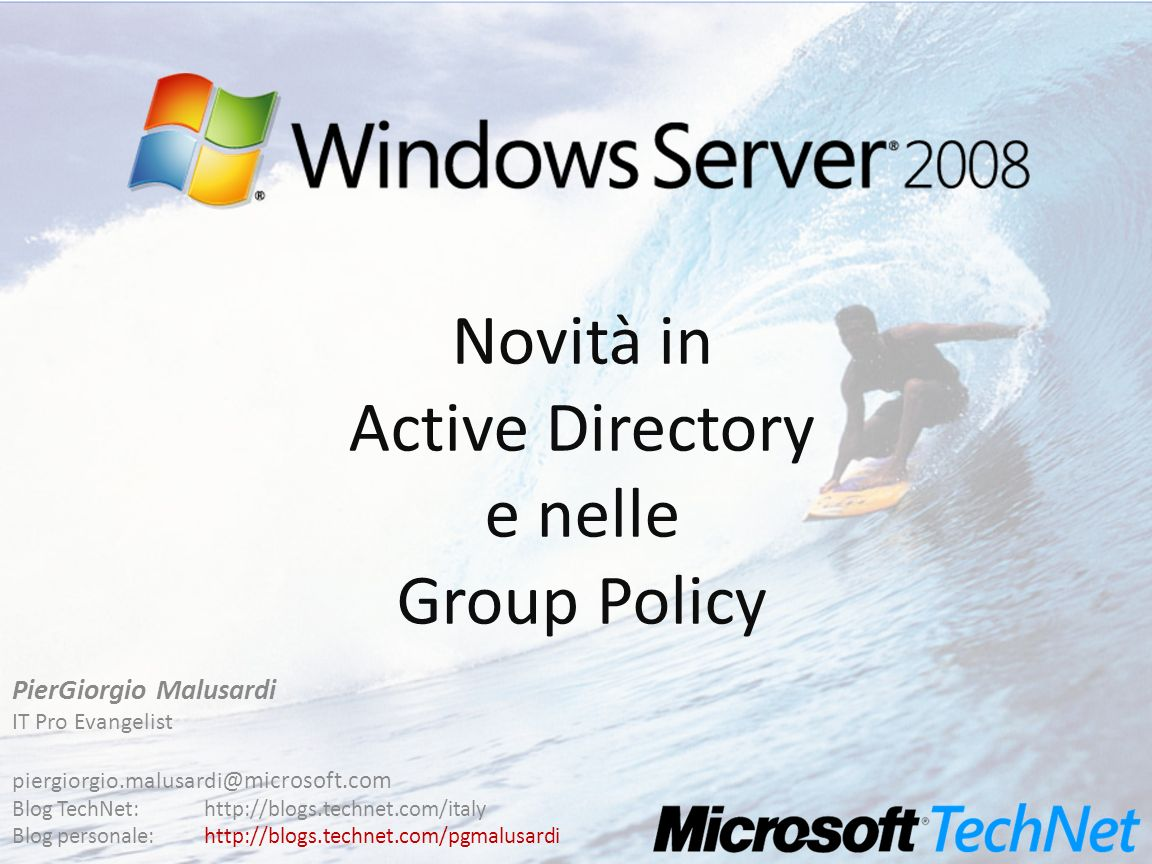 Novità in Active Directory e nelle Group Policy