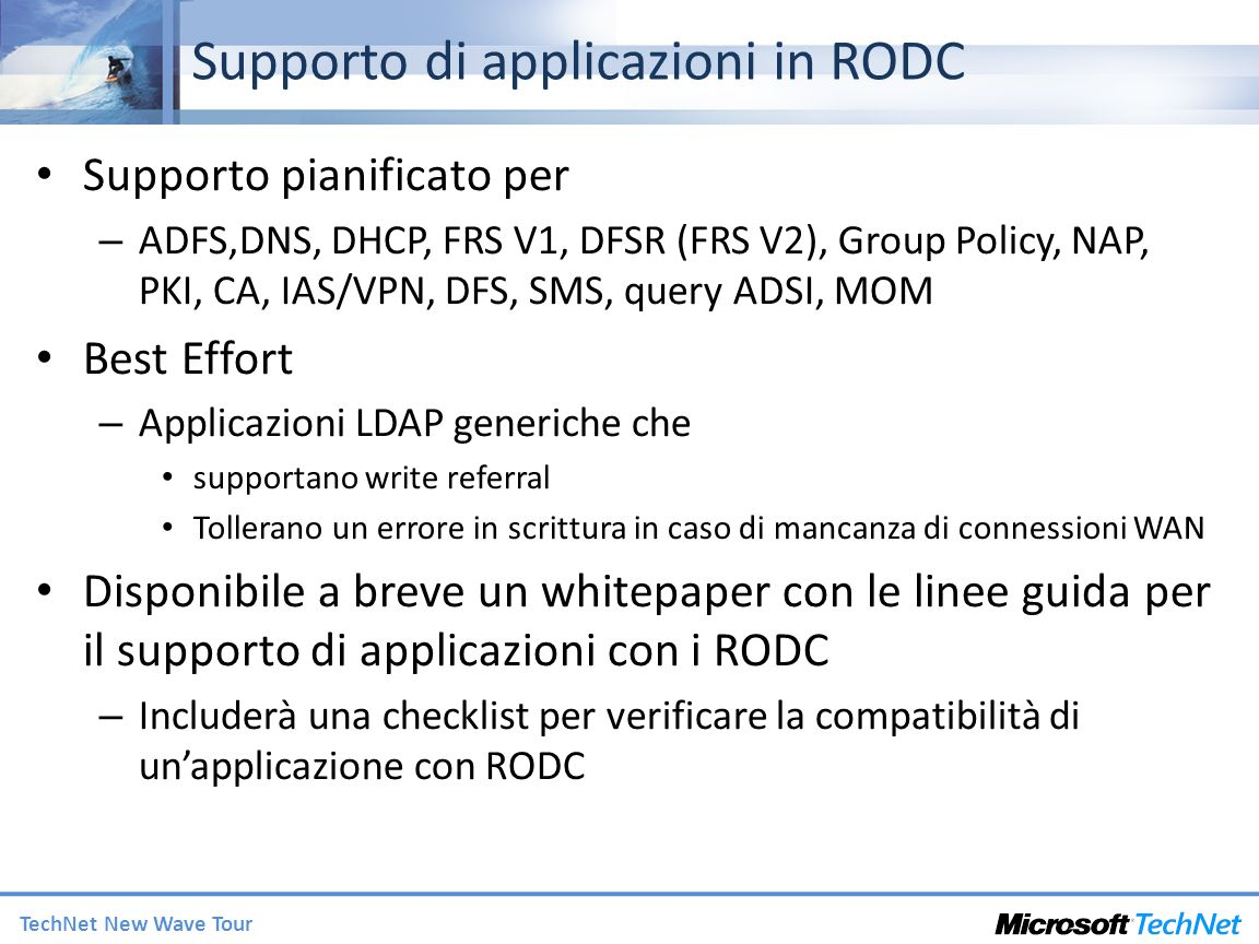 Supporto di applicazioni in RODC