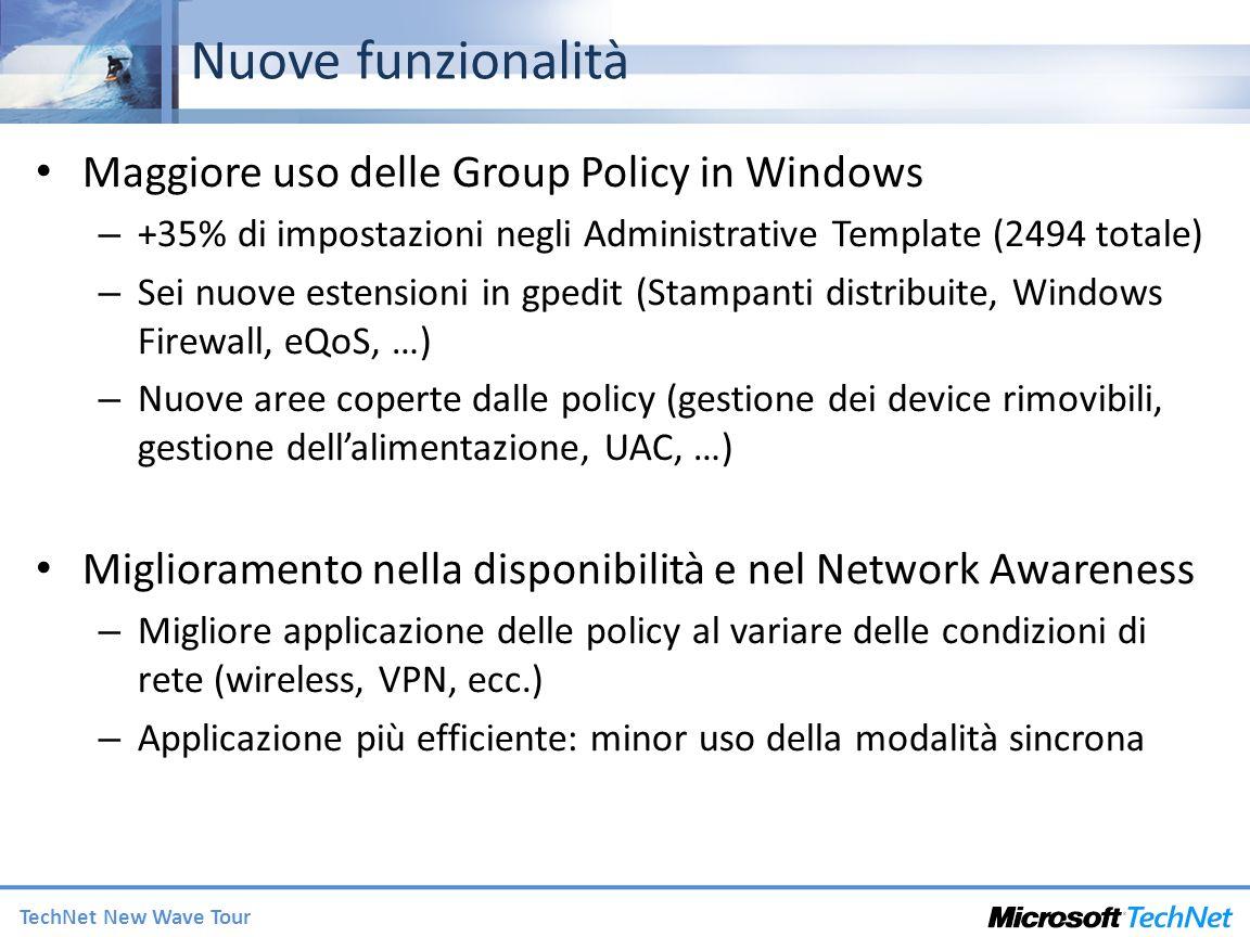 Nuove funzionalità Maggiore uso delle Group Policy in Windows