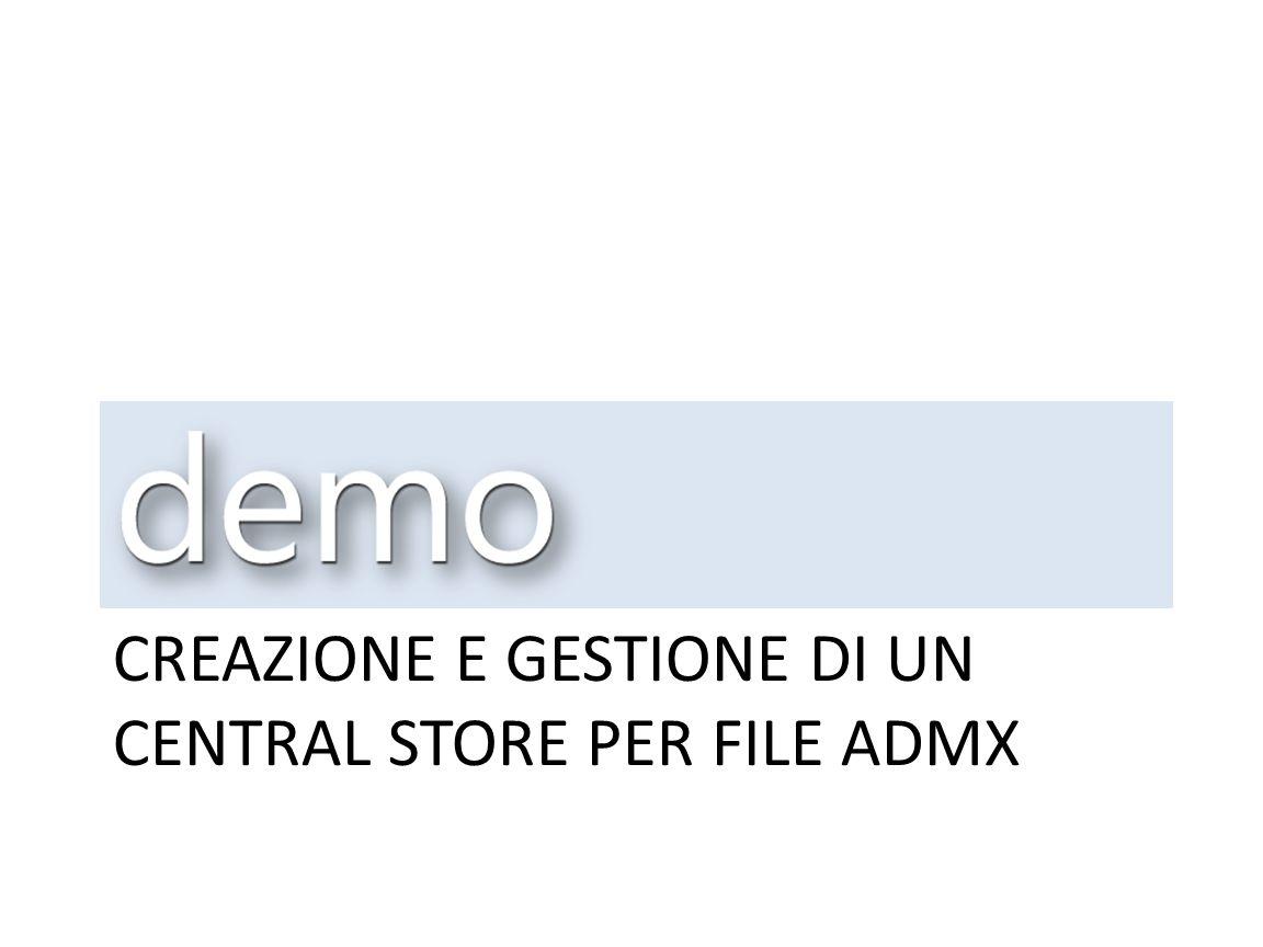 Creazione e gestione di un central store per file admx