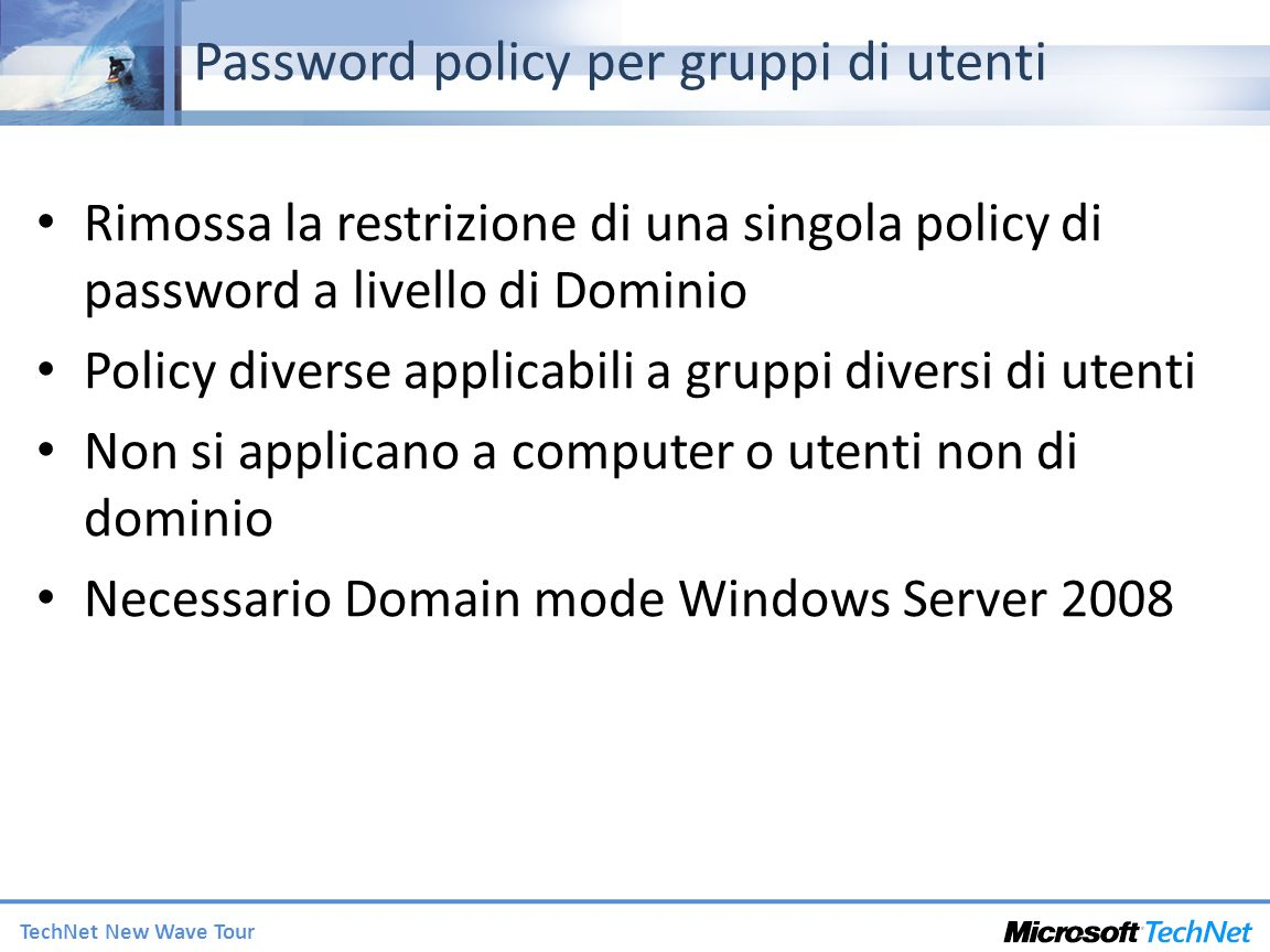 Password policy per gruppi di utenti