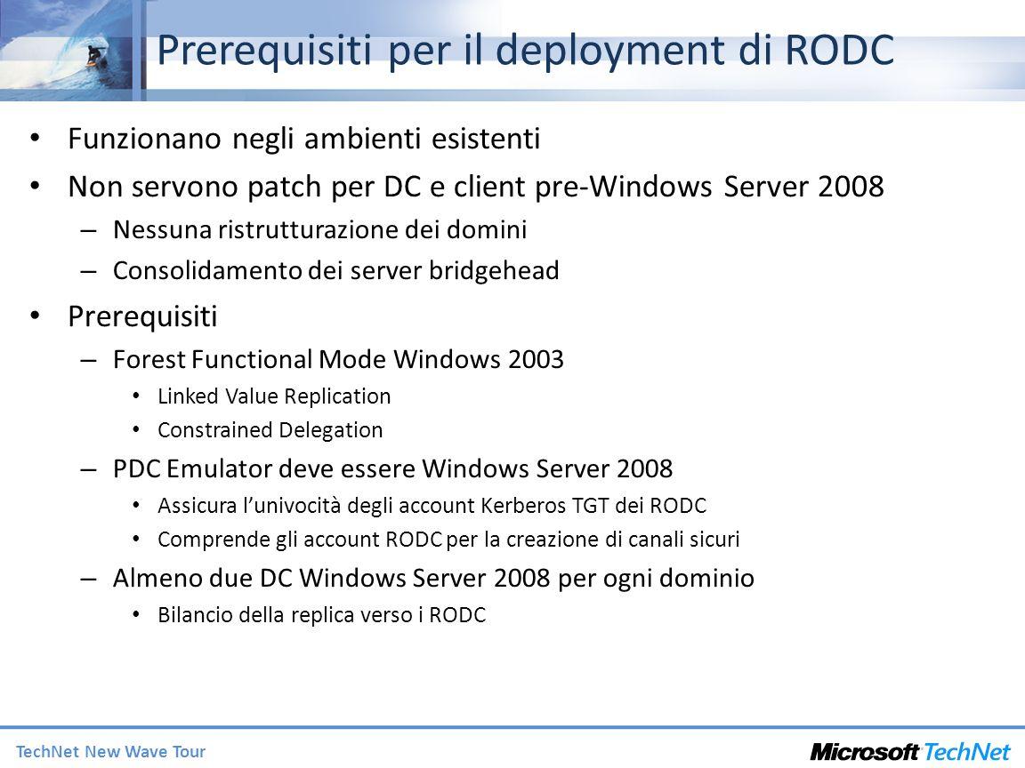 Prerequisiti per il deployment di RODC