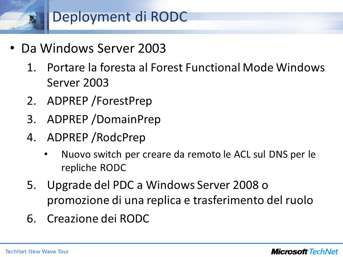 Deployment di RODC Da Windows Server 2003