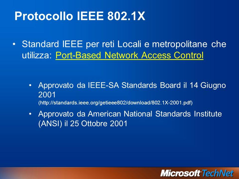 Protocollo IEEE 802.1X Standard IEEE per reti Locali e metropolitane che utilizza: Port-Based Network Access Control.